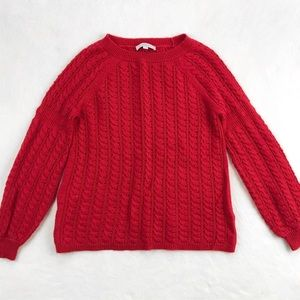 LOFT Red Crew Neck Cable Knit Sweater
